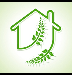 Eco home icon with leaves on white background vector