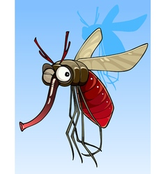Cartoon funny big mosquito vector