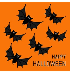 Flying cute bat family happy halloween card flat vector