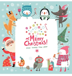 Christmas background with cute characters vector