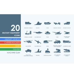 Set of military equipment icons vector