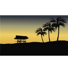Silhouette of gazebo in hills vector