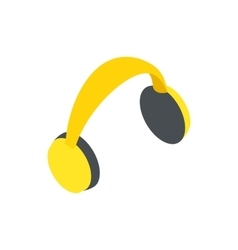 Yellow protective headphones icon vector