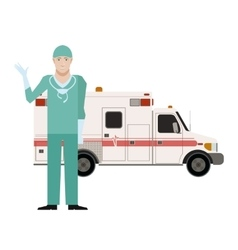 Ambulance and a doctor vector