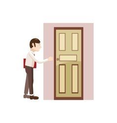 Man with a folder at the door icon cartoon style vector image
