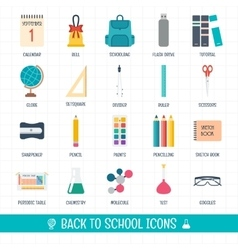 Back to school icons set School and education vector image vector image