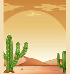 Background scene with cactus in desert vector