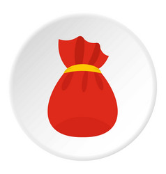 Bag of santa claus with gifts icon circle vector