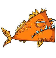 Big angry fish cartoon vector