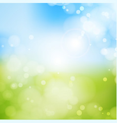 Blurry background spring blue sky with glaring vector