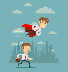 businessman with red cape fly pass vector image