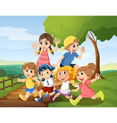 Children playing in the park at daytime vector image vector image
