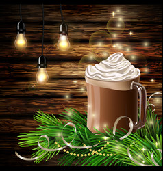 Christmas new year design with hot chocolate vector