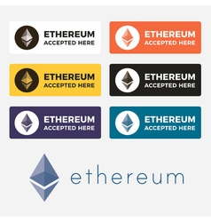 Ethereum cryptocurrency logo vector image vector image