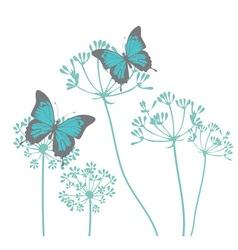 Fennel flower butterfly vector