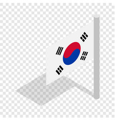 Flag of south korea isometric icon vector