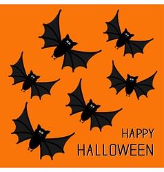 Flying cute bat family happy halloween card flat vector