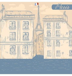 France Paris street retro postcard vector image
