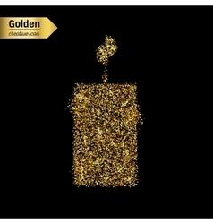 Gold glitter icon of candle isolated on vector image