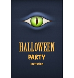 Halloween Party Invitation with monster eye vector image vector image