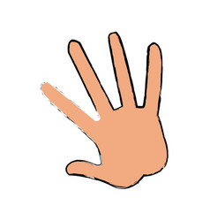 Hand human showing five finger vector