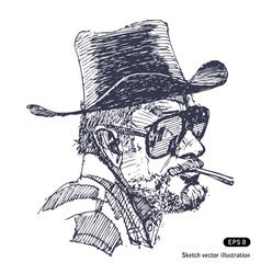 Man with hat sunglasses and beard smoking cigar vector image vector image