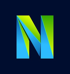 N letter line colorful logo Abstract trendy green vector image