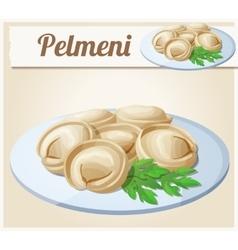 Pelmeni meat dumplings cartoon icon vector