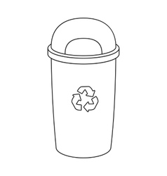 Recycle garbage can icon in outline style isolated vector