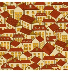seamless pattern town houses vector image vector image