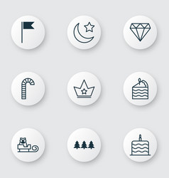 Set of 9 holiday icons includes flag point vector