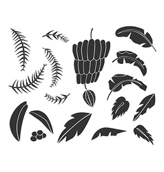 Silhouettes of hand drawn palms trees vector image