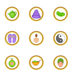 Spa icons set cartoon style vector