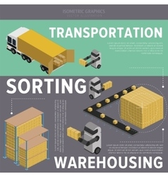 Warehousing process infographics vector image