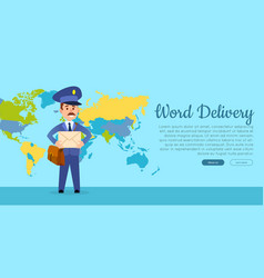 World delivery web banner with postman vector