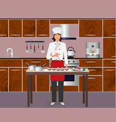 young woman confectioner decorate desserts with vector image vector image