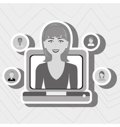 Laptop woman relationship person vector