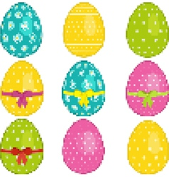 Pixel easter eggs vector