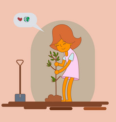 Girl planting new tree vector