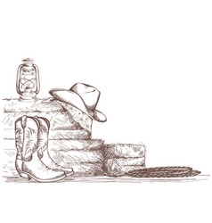 hand draw cowboy background with western boots vector image