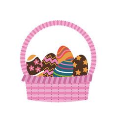 basket egg easter celebration ornament vector image