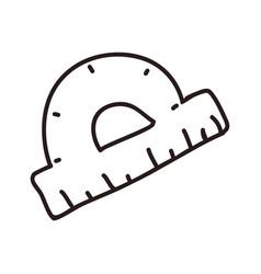 Protractor ruler doodle vector