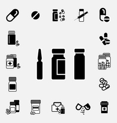Medical ampoule or vaccine icon set vector