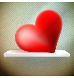 Empty shelf with red heart vector