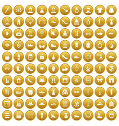 100 vogue icons set gold vector