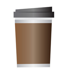 disposable coffee cup on white background vector image