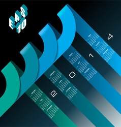 2014 infographic calendar blue vector