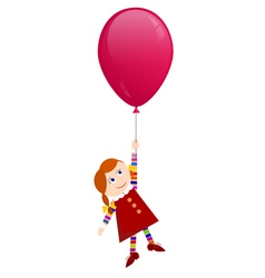 Redhaired girl flying on a balloon vector