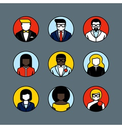 Flat line avatars male and female user icons vector