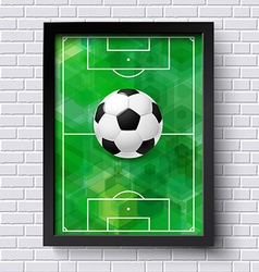 Abstract soccer poster Image frame on white brick vector image